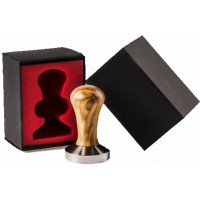 """""""COMPETITION"""" CLASS COFFEE TAMPER, OLIVE TREE HANDLE WITH S. STEEL FLAT BASE D.58,5MM"""
