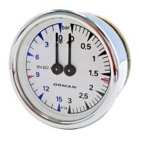 Manometru ceas cu scala dubla, presiune boiler si pompa, pentru expresor ELEKTRA